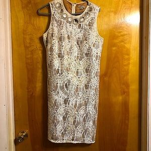 Cocktail White Jeweled Shimmery Dress
